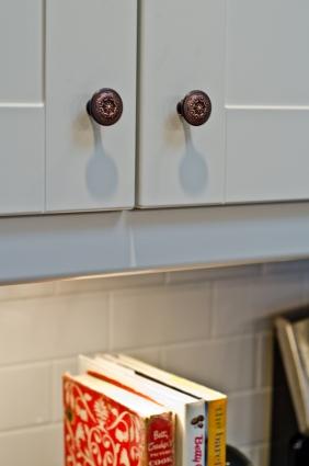 IKEA white Adel cabinets with white subway tile backsplash