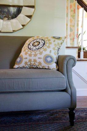 Linen upholstered settee