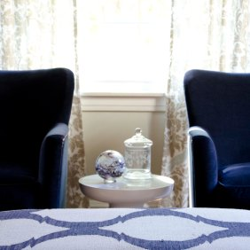 Jayson Rivington chairs in a navy velvet