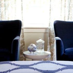 Jayson Rivington chairs in a navy velvet
