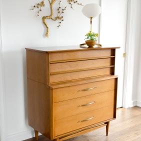 Vintage, mid-century modern dresser in the master bedroom